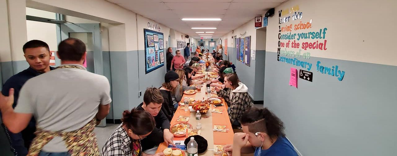 Students and staff enjoying the annual ALC Thanksgiving luncheon