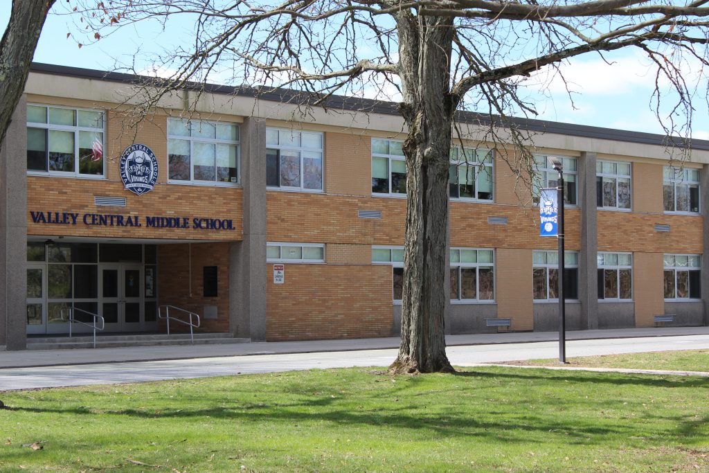 The front entrance of the Valley Central Middle School.