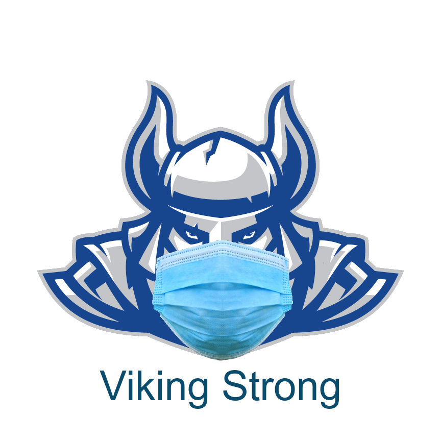 Viking Mascot wearing surgical mask with caption Viking Strong